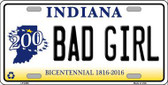 Bad Girl Indiana Novelty Metal License Plate
