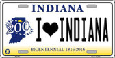 I Love Indiana Novelty Metal License Plate
