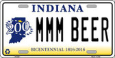 MMM Beer Indiana Novelty Metal License Plate