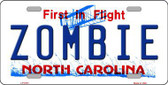Zombie North Carolina Novelty Metal License Plate