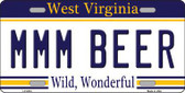 MMM Beer West Virginia Novelty Metal License Plate