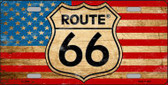 Route 66 American Flag Metal Novelty License Plate