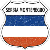 Serbia Montenegro Country Flag Highway Shield Metal Sign
