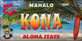 Kona Hawaii State Background Novelty Metal License Plate