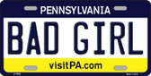 Bad Girl Pennsylvania State Background Novelty Metal License Plate