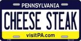 Cheese Steak Pennsylvania State Background Novelty Metal License Plate