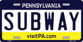 Subway Pennsylvania State Background Novelty Metal License Plate
