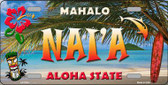Nai'a Hawaii State Background Novelty Metal License Plate