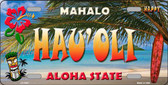 Hau' oli Hawaii State Background Novelty Metal License Plate