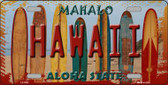 Hawaii Surfboards State Background Novelty Metal License Plate