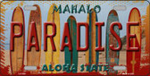 Paradise Surfboards Hawaii State Background Metal Novelty License Plate
