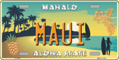 Maui Hawaii Pineapple Background Novelty Metal License Plate
