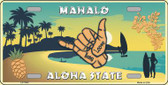 Hang Loose Hawaii Pineapple Background Novelty Metal License Plate