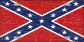 Distressed Confederate Flag Metal Novelty License Plate
