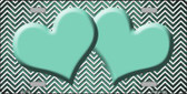 Mint White Small Chevron Hearts Print Oil Rubbed Metal Novelty License Plate