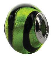 Authentic ZABLE Green/Black Stripes Murano Glass Bead Charm BZ1564
