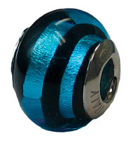 Authentic ZABLE Blue Zebra Murano Glass Bead Charm BZ1566