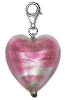 Authentic Zable made in Murano, Italy Heart Shaped Drop/Pendant Glass Bead Charm BZ2900