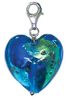 Authentic Zable made in Murano, Italy Heart Shaped Drop/Pendant Glass Bead Charm BZ2901