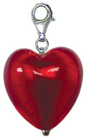 Authentic Zable made in Murano, Italy Heart Shaped Drop/Pendant Glass Bead Charm BZ2903