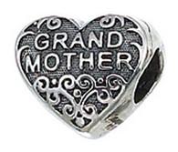 Authentic ZABLE Grandmother Heart Bead Charm BZ2039