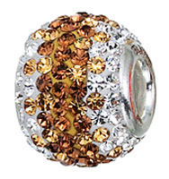 Authentic ZABLE Browns & White Swarovski Crystal Studded Bead Charm BZ1208