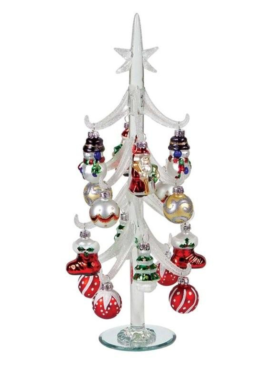 Frosted christmas ornaments - 14 Frosted Glass Table Top Christmas Tree With Ornaments 17109155 Christmascentral