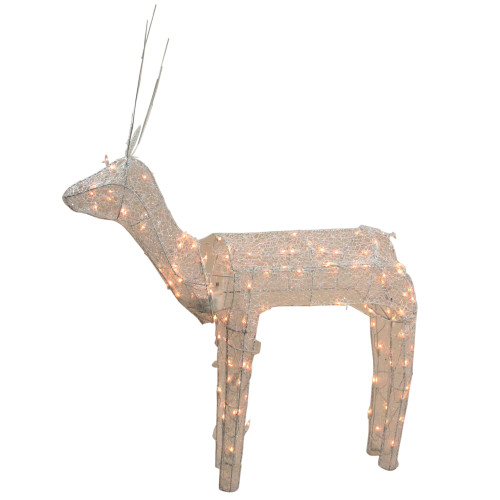 48 3 d glitter animated standing buck reindeer lighted for Animated lighted reindeer christmas decoration