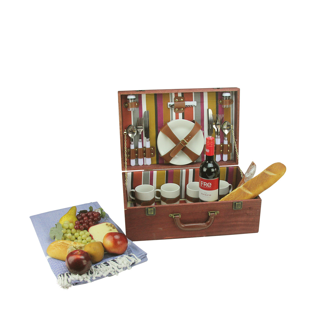 Wooden Picnic Basket Set : Person hand wooden red striped picnic basket set with