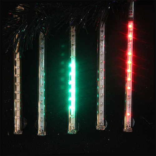 Snowfall Set Of 5 Single Sided 7 Led Christmas Icicle