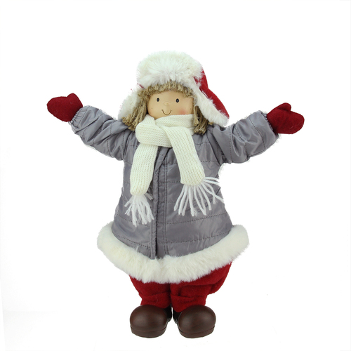 Cheerful young boy gnome in gray puffy winter coat for Gnome 3 decoration fenetre