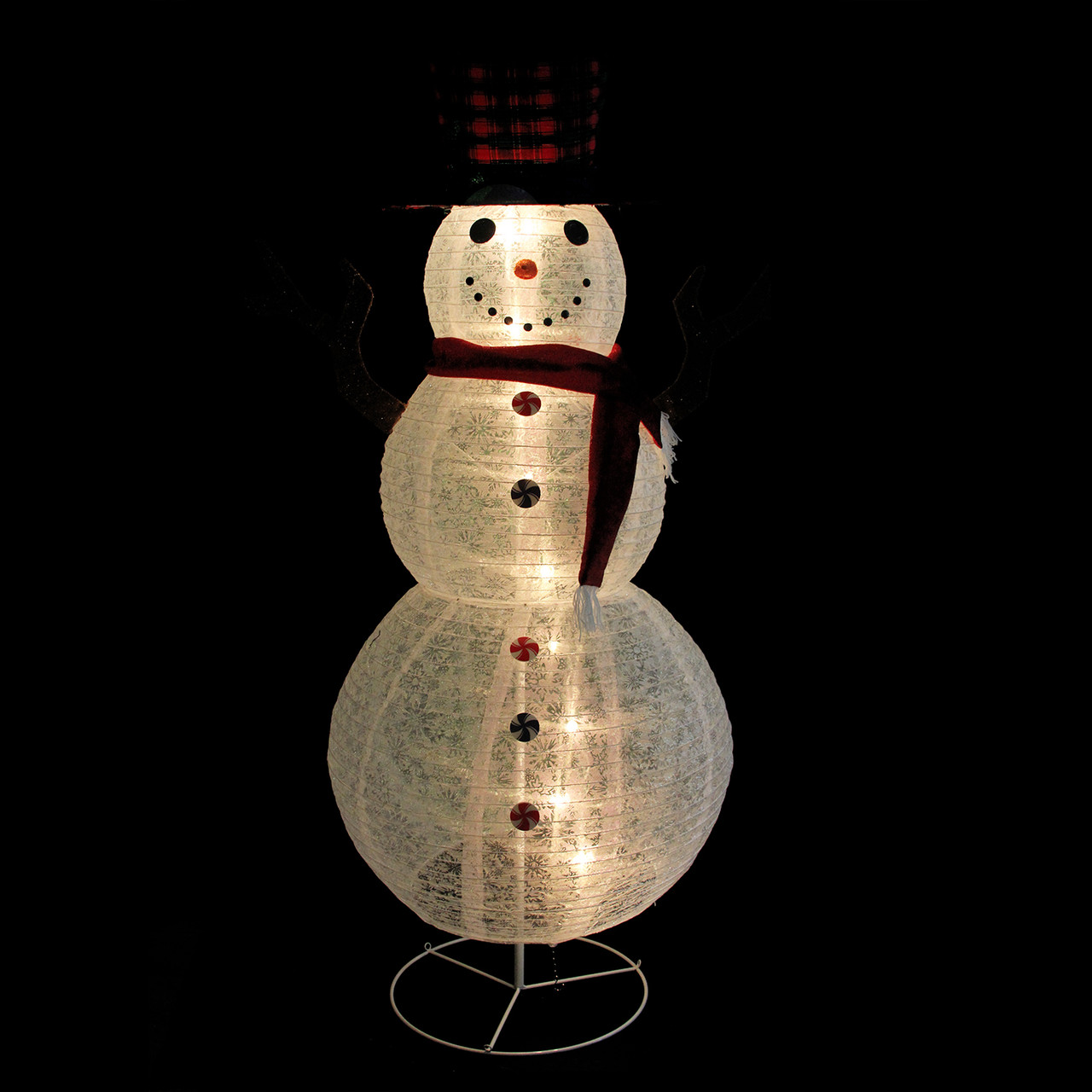 72 pre lit glitter snowflake snowman with plaid top hat outdoor christmas yard art decoration. Black Bedroom Furniture Sets. Home Design Ideas