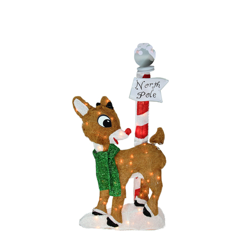 32 pre lit 2 d rudolph the red nosed reindeer north pole for Pre lit outdoor decorations