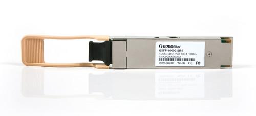 QSFP-10000-SR4 Ethernet 100G QSFP transceiver 100m range, MPO connector, four 25G SR4 channels, front view