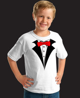 Kids White Tuxedo T-Shirt with Red Tie