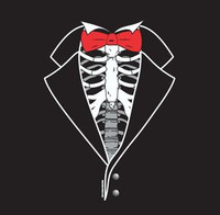 Kids Dem Bones Tuxedo T-shirt in Black with red tie