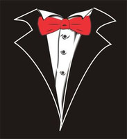 Kids Tuxedo T-Shirt in Black with Red Tie No Carnation