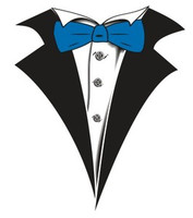 Tuxedo T-shirt with Blue Bow Tie on White