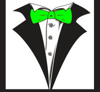 Tuxedo T-shirt with Neon Green Bow Tie on White
