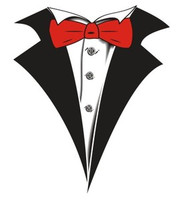 Tuxedo T-shirt with Red Bow Tie on White