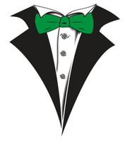 Tuxedo T-shirt with Green Bow Tie on White