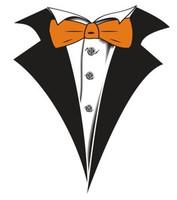 Tuxedo T-shirt with Orange Bow Tie on White