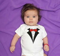 Baby Tuxedo One Piece in White includes Bib