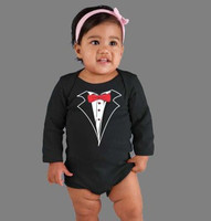 Long Sleeve Tuxedo One Piece in Black - including Bib