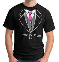Tuxedo Tee Pinkerton Model with Hot Pink Tie