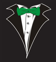 Long Sleeve Tuxedo T-Shirt in Black with Green Tie