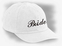 Bride Embroidered Hat in White One Size