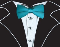 Tuxedo T-Shirt in Black with Real Turquoise Bow Tie