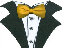 White Tuxedo T-Shirt with Real Yellow Bow Tie