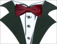 White Tuxedo T-Shirt with Real Wine Bow Tie